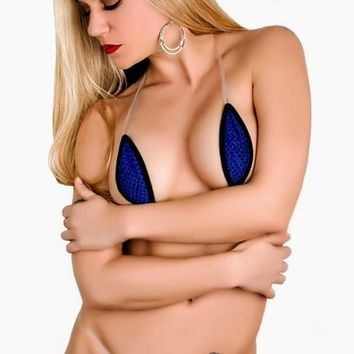 Blue Sequins Mini Teardrop Bikini 2pc Extreme Micro G-String Mesh Clear Straps