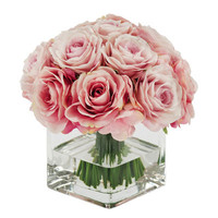 FAUX ROSE BOUQUET IN VASE