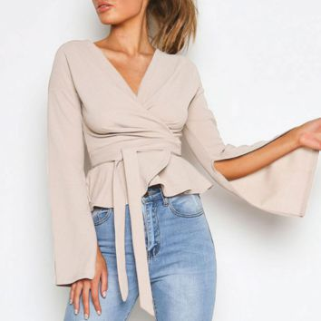 New solid color short jacket sexy fashion strap shirt slim