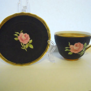 JKW Carlsbad Decor Teacup Saucer Beehive Black Roses 14K Gold Trim Bavaria Vintage