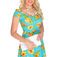 Sexy Teal Orange Short Sleeve Floral Print Casual Summer Dress
