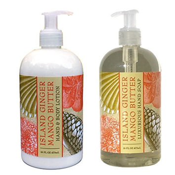 Greenwich Bay Island Ginger Mango Butter Hand & Body Lotion and Island Ginger Mango Butter Hand Soap Duo Set Enriched With Shea Butter 16 oz each