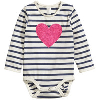H&M - Long-sleeved Bodysuit - Dark blue - Kids