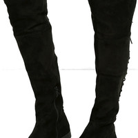 LFL Ramsey Black Suede Lace-Up Over the Knee Boots