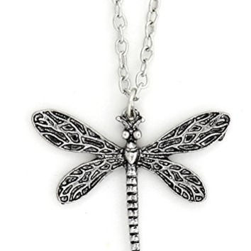 Dragonfly Necklace Vintage Art Nouveau Antique Silver Tone Pendant Fashion Jewelry