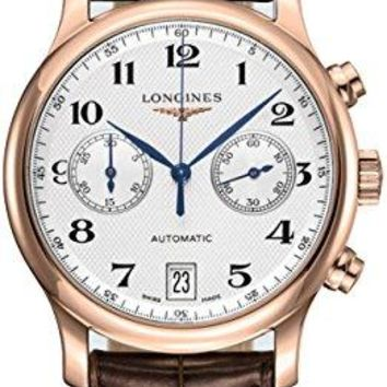 Longines Master Collection Silver Dial 18kt Rose Gold Brown Leather Mens Watch L26698783