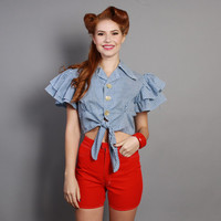 60s Gingham CROP TOP / WESTERN Tie Front & Ruffle Sleeves, l