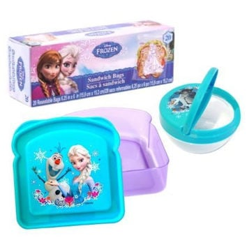 Disney Frozen Lunch Kit Bundle of 3 - Sandwich Box, Snack Bowl and Food Storage Bags