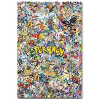 Pikachu - Pokemon All Monsters Art Silk Fabric Poster Print Pocket Monster Anime Picture for Living Room Wall Decoration 09