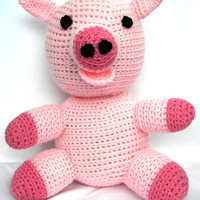 Crochet pig toy soft plush stuffed amigurumi by mamaducksdesigns