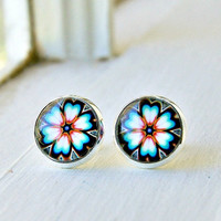 summer blooms silver plated cabochon stud earrings, post, faux plug, flower,