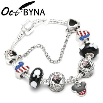 Octbyna New Crystal Mickey Minnie Mouse Pandora Charms Bracelet Glass Beads Bracelets Women Fashion Jewelry Cute Gift
