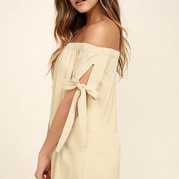 Al Fresco Evenings Beige Off-the-Shoulder Dress