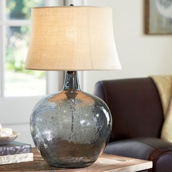 CLIFT GLASS TABLE LAMP BASE - SMOKE GRAY