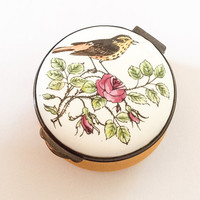 Porcelain Deep Yellow Trinket Box, Hand Painted, Songbird, Rose, Crummles English Vintage BLACK FRIDAY CHRISTMAS Sale