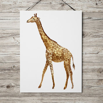 Watercolor print Wildlife art Giraffe poster Nursery print ACW503