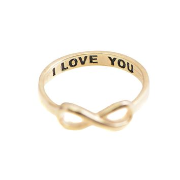 Handcrafted I Love You Lettered Infinity Ring