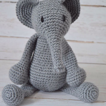 Crochet stuffed animal, crochet stuffed elephant, grey elephant, crochet elephant, crochet baby toy, stuffed toy, crochet toy