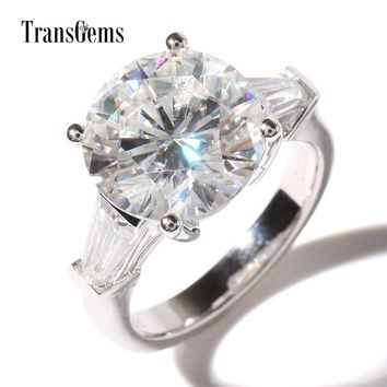Ring. TransGems Luxury 5 Carat Lab Grown Moissanite Diamond with moissanite Accents Wedding Ring Solid 14K Gold Engagement Band