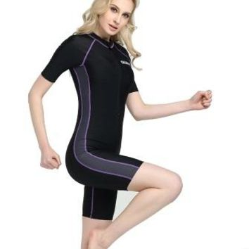 New Women Knee Length One Piece Swimsuit Plus Size Training Bathing Suit Professional Bodysuit Sexy Polyester Sport SurfingSuits