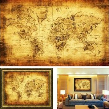 Vintage Style Retro Cloth Poster Globe Old World Nautical Map Gifts [8081668359]