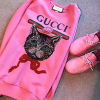 GUCCI Gucci logo sweatshirt with Mystic Cat