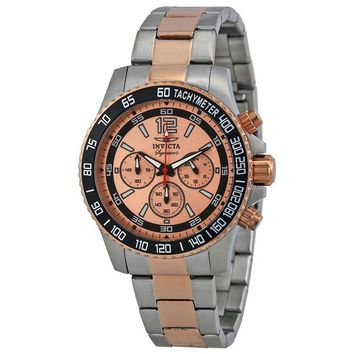 Invicta Signature II Chronograph Rose Gold-tone Dial Two-Tone Stainless Steel