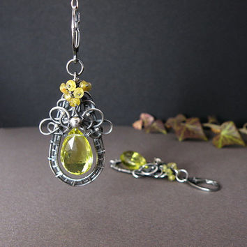 Silver wire wrapped earrings with Lemon quartz by MadeBySunflower