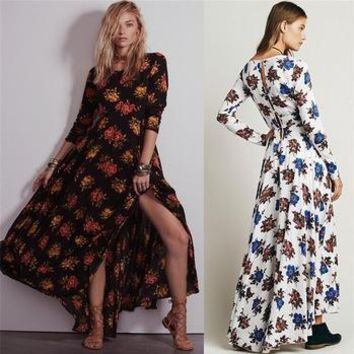 2016 New Fashion Womens New Vintage Runway Floral Printed Slit Evening Party Maxi Long Boho Dress