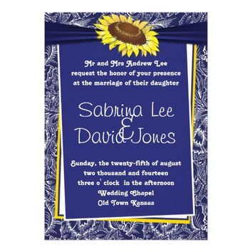 Royal Blue and Yellow Sunflower Wedding Invitation