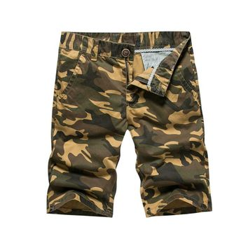 2017 Summer Cotton Casual Men Shorts Knee Length Army Camo Washed Work Cargo Shorts Beach Camouflage Short Pants Straight Male