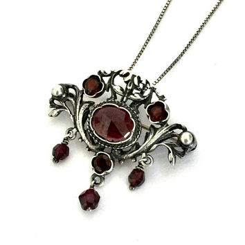 Victorian Revival European 835 Silver & Garnet Pendant/Brooch, Ornate Open Metal Work, Faceted Garnet Cabs and Dangles, Vintage Statement