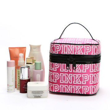 """ Pink  "" Printed Make Up Victoria's Secret Like Travel Cosmetic Make Up Toiletry Holder Beauty Round Zipper Wash Organizer Storage Purse Bag Monopoly Pouch Purse _ 9343"