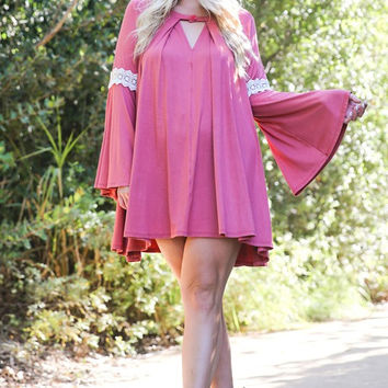 Lace Trim Bell Sleeves Tunic Dress