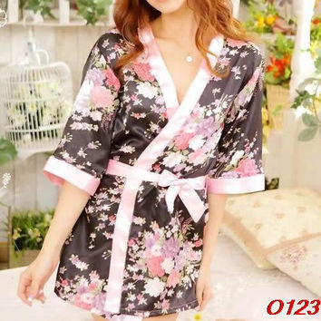 Sexy Womens Sleepwear Robe Japanese Kimono Costume Nightgown Uniform