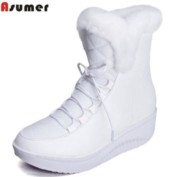 Asumer Hot Sale Shoes Women Boots Solid Slip-On Soft Cute Women Snow Boots Round Toe F