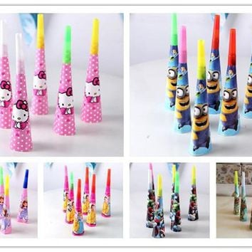 6pc/set princess minion birthday party supplies Blowout Whistles Kids Birthday Party Favors Decoration Supplies Noise maker Toys