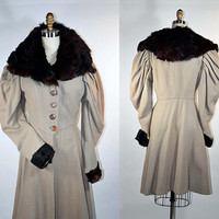 Vintage Edwardian Style Princess Coat w/ Fur Collar & La Belle Epoque Leg-o-Mutton Sleeves, Movie Prop Steampunk Costume Memorabilia sz XS/S