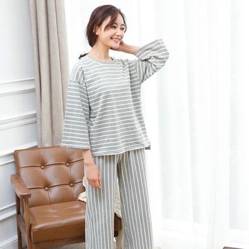 2017 new women spring and summer loose simple style pajamas Long-sleeved cotton pajamas Striped Japanese cotton home clothes