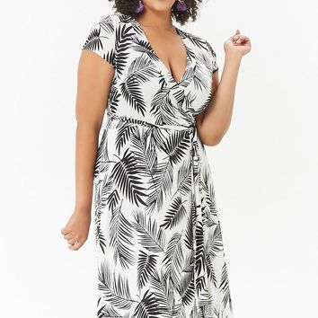 Plus Size Palm Leaf Print Maxi Dress