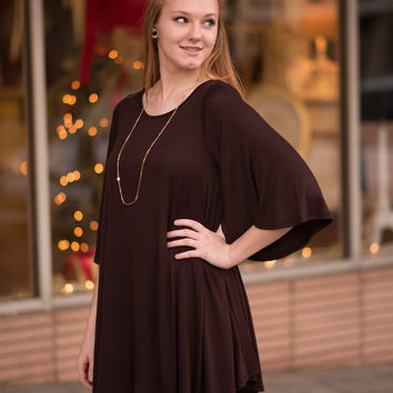 Bell Sleeve Tunic - Brown