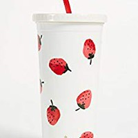 Kate Spade New York Strawberries Plastic Tumbler With Reusable Straw, 20oz