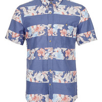 BLUE HORIZONTAL FLORAL STRIPE SHORT SLEEVE SHIRT - Short Sleeve Shirts - Men's Shirts  - Clothing