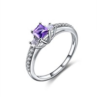 Magic Pieces Sterling Silver Ring with Round Shape Natural Brazilian Purple Amethyst and CZ J1122