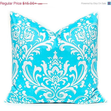 SALE Turquoise Pillow Cover, Decorative Throw Pillow Cover One All Sizes Turquoise Damask on White Twill Cushion Covers Premier Prints Osbor