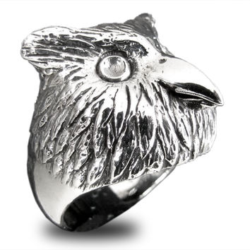 Owl Ring Spirit Animal Guardian in Sterling Silver 925