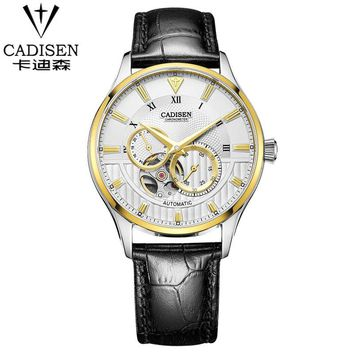 2016 New Luxury Brand cadisen Men Business Watches Men's mechanical Clock Casual Wrist Men Gold Watch Relogios Masculino