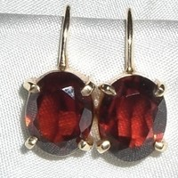 Antique 14K Gold Garnet Screw Back Earrings