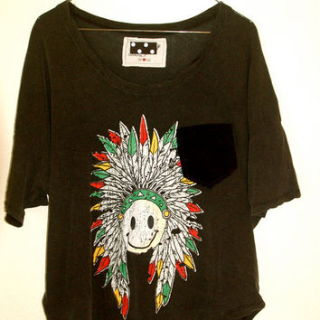 "The ""Smiley Velvet Pocket Tee"" Smiley Headdress Tee with Velvet Pocket"