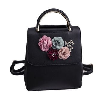 Fashion 3D Flower Appliques PU Leather Women Backpack Retro Style Teenager Girls School Bag Rucksack Tote